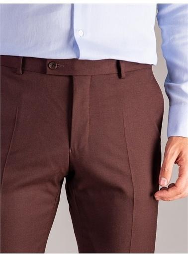 Dufy Kahve Düz Erkek Pantolon - Regular Fıt Bordo